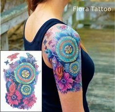Flora Temporary Body Tattoo Colorful Mandala Flower Tattoos can be used for Sleeve Tattoo Mandala Tattoo Design, Colorful Mandala Tattoo, Mandala Hip Tattoo, Mandala Flower Tattoos, Mandala Sleeve, Flower Mandala, Mandala Colour, Tattoo Floral, Tattoo Flowers