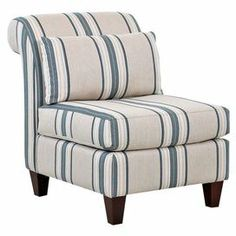 """A classic addition to your living room seating group, this lovely accent chair showcases a striped motif and rolled back.   Product: ChairConstruction Material: Engineered wood, kiln dried wood and foamColor: Fiji poolFeatures:  Accent lumbar pillow includedWelted seat cushionsRolled back Striped motif Block legs  Dimensions: 37"""" H x 29"""" W x 40"""" D"""