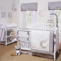 Gray & White Celestial Moon W/ Stars Baby Unisex Nursery 4 Pc Crib Bedding Set
