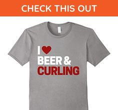 Mens I Love Beer & Curling Shirt For Beer Drinking Curling Fans Large Slate - Food and drink shirts (*Amazon Partner-Link)