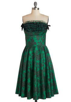 Pop of Panache Dress - Green, Black, Floral, Bows, Ruffles, Special Occasion, A-line, Strapless, Party, Vintage Inspired, 80s