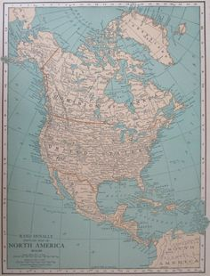 North America 1812 disputed territory   Atlas   North America     1926 NORTH AMERICA Map  PREMIUM Aqua Tan Atlas Wall Map Art Print  Rand  McNally Roaring 20s  1920s United States  Canada  Mexico  Caribbean