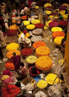 Mercado de flores, sementes e especiarias / Seeds, flowers and spices market, Bangalore, India.
