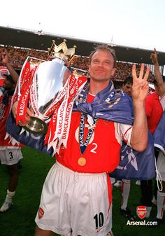 Dennis Bergkamp with the Premiership trophy. Arsenal v Leicester City, Highbury, 15/5/04. #Arsenal