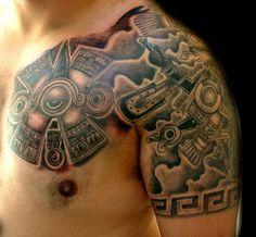 Chest Shoulder Aztec Tattoos