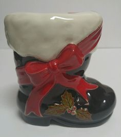 Santa Claus Black Boot Statue Planter Vase Christmas St Nick Vintage Ceramic