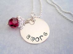 Amore Hand Stamped Necklace Sterling Silver by by marybeadz, $30.00