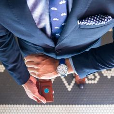 Fashion Friday is all about the details. Waiting for a train? Do it in style. Lim knows how. Bicycle Print, Tie And Pocket Square, Skinny Ties, Dapper, Navy Blue, Bowties, Mens Fashion, Neckties, Man Fashion
