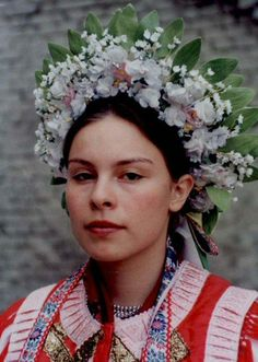Europe | Portrait of a woman wearing a traditional headdress, Liptovské Sliače village, Liptov region, Central Slovakia. European Costumes, Art Populaire, Thinking Day, Bridal Crown, Folk Costume, People Around The World, Headdress, Traditional Outfits, Marie