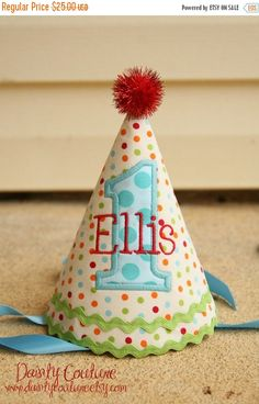 SPRING SALE Boys 1st Birthday Party Hat - Cream dots in red, aqua, orange, and green - Unique gift