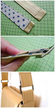 Como fazer menos volumosos tiras de couro saco de apoiá-los com tecido e usando…