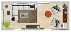Long narrow living room design to make the most use of the space.