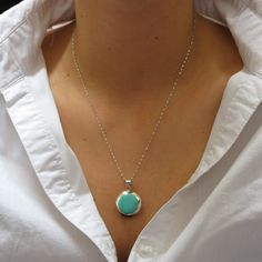 Duble Sides Pendant, Turquise Pendant,Sterling Silver Pendant,Ocean Jewelry ,Unique Pendant,Blue Pendant,Beach Jewelry,White Shell Shiva eye by IrisSilverJewelry on Etsy