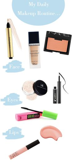 TOP PICKS FOR DAILY ROUTINE  Face: YSL Touche Eclat Concealer $40/Dior Flawless Finish Foundation $47/Nars Blush in Orgasm  $29  Eyes: Lancome Artliner Eyeliner in Noir $30/Maybelline Great Lash Mascara $4.67/Bare Minerals Eyeshadow in Vanilla Sugar $14  Lips: Nars Lipgloss in Turkish Delight $25