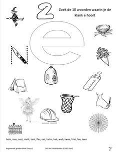 Zoek de juiste plaatjes bij de klank 21 Kindergarten Math Worksheets, Letter E, Phonics, Kids Learning, Germany, Education, Deutsch, Onderwijs, Learning