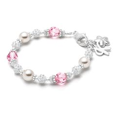 Real Pearls and Pink Swarovski Crystal Bracelet for Baby