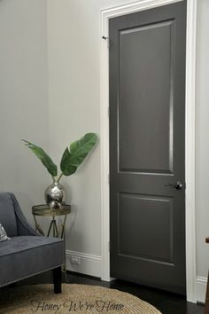 Love the dark grey interior doors. Black/Gray Painted Interior Doors I did this to my clients house and we painted her kitchen cabinets the same charcoal grey :) Interior Door Colors, Grey Interior Doors, Painted Interior Doors, Interior Paint, Interior Design, Interior Door Styles, Monochrome Interior, Pastel Interior, Yellow Interior