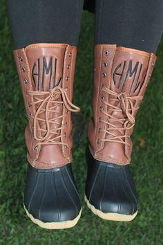 Monogrammed Duck Boots Two Tone Black Brown by thepurplepetunia