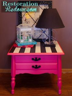 The bottom painted with hot pink DIY chalkpaint, while the top is painted white with black painted taped off stripes. Coat with a clear wax.---I'd change the color to a mint or Tiffany blue Funky Furniture, Refurbished Furniture, Furniture Projects, Furniture Makeover, Painted Furniture, Furniture Design, Pink Nightstands, Black Nightstand, Redo Nightstand
