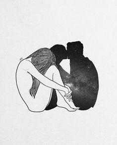 Art Print by Muhammed Salah - X-Small Paar Illustration, Couple Illustration, Dark Art Drawings, Art Drawings Sketches, Black And White Art Drawing, Galaxy Painting, Sad Art, Couple Drawings, Couple Art