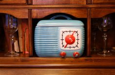 Retro 50s Radio Cookie Jar Turquoise R.H.Macy's & Co. Retro Kitchen Decor Collector Gift Cyber Monday by RomantiqueTouch on Etsy https://www.etsy.com/listing/212395507/retro-50s-radio-cookie-jar-turquoise