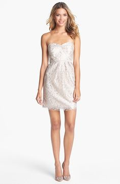 beautiful rehearsal dinner or send off dress  Jenny Yoo 'Hudson' Metallic Lace Sheath Dress (Online Only) | Nordstrom