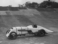 Parry Thomas testing his racing car 'Babs' at Brooklands.