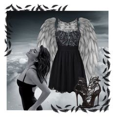 """Be free like angels ..."" by hanishek-hanii ❤ liked on Polyvore featuring Ally Fashion and Giuseppe Zanotti"