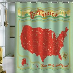 Amazon.com: DENY Designs Anderson Design Group Explore America Shower Curtain, 69 by 72-Inch: Home & Kitchen