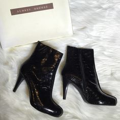Audrey Brooke Black Leather Booties Only worn once. Amazing boots and comes in original box.  Have zippers up the side Audrey Brooke Shoes