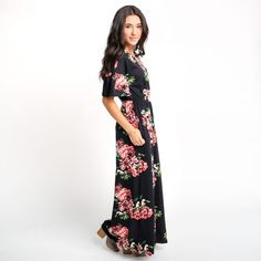 Lancaster Bell Sleeve Maxi - Black/Coral | Called To Surf