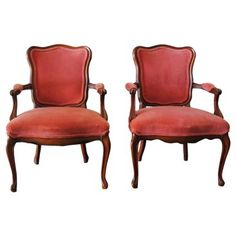Check out this item at One Kings Lane! French-Style Pink Velvet Armchairs, Pair