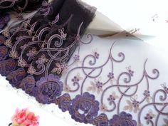 Black lace, embroidered trim, floral tulle trim, embroidered tulle, embroidered net fabric, 2 yards BK116