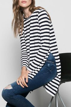 Side Slit High Low Striped T-Shirt