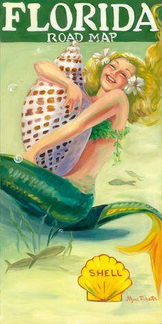 This is the Florida Road Map with Mermaid Florida Road Map, Old Florida, Vintage Florida, Florida Lanai, Vintage Hawaii, Real Mermaids, Mermaids And Mermen, Fantasy Mermaids, Sea Siren