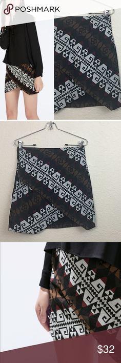 "Zara wrap skirt • Zara woman • Wrap skirt • Size xsmall • Waist measures 14"" across • Total length 17"" at the points • Fabric 85% acrylic 15% polyester • $60 Zara Skirts"