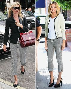 Switch Out Your Jeans For Striped Pants  Chic and slimming, striped trousers are a fresh alternative to denim. Both Kate Moss and Heidi Klum punched up simple separates with cropped pairs by Isabel Marant.