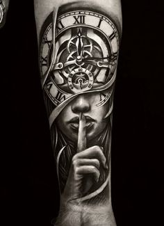 Tattoo Nikita Kolesov - tattoo's photo In the style Black and grey, Male, Girls, Wat Tribal Arm Tattoos, Forarm Tattoos, Forearm Sleeve Tattoos, Best Sleeve Tattoos, Wrist Tattoos For Guys, Leg Tattoos, Clock Tattoo Design, Forearm Tattoo Design, Half Sleeve Tattoos Designs