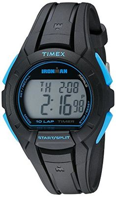 Timex Mens TW5K93900 Ironman Essential 10 FullSize BlackBlue Resin Strap Watch -- You can find more details by visiting the image link.Note:It is affiliate link to Amazon.