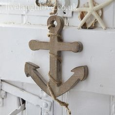 Rustic Wooden Anchor Hanging Decoration
