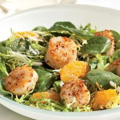 Pin this Spinach & Frisée Salad with Tangerines & Coriander-Crusted Scallops Recipe when you are in a time crunch. Only 30 minutes for this little gourmet meal!
