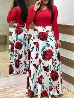 Red Floral Print Long Sleeve Casual Dresses