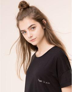 Pull&Bear - woman - t-shirts & tops - time is now' black t-shirt - black - 09243364-I2015