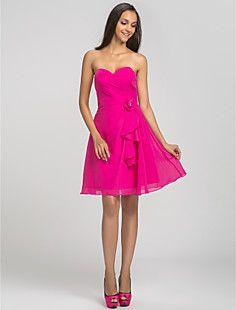 A-line Sweetheart Short/Mini Chiffon Bridesmaid Dress (63120... – USD $ 59.39