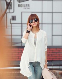 wholesale Korean irregular hem long bottoming shirt    $11.14 from www.wholesaleitonline.com