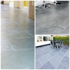 The versatility of slate means that it can be used indoors and outdoors to create beautiful stone floors #slate #tiles #naturalstone #kitchens #flooring #paving