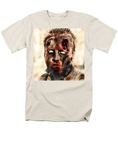 Halloween Zombie Men's T-Shirt (Regular Fit) featuring the photograph Burnt Zombie Standing In Smouldering Horror Forest by Jorgo Photography - Wall Art Gallery