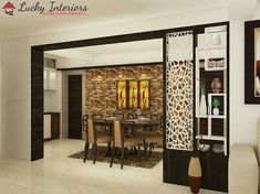 Partition of living room and dining area will make the home look classy and spac. Room Partition Wall, Living Room Partition Design, Living Room Divider, Room Divider Walls, Room Partition Designs, Living Room Tv Unit Designs, Room Door Design, My Living Room, Partition Ideas