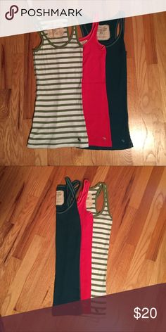 Abercrombie & Fitch Beaters Bundle of 3 - Abercrombie & Fitch Beaters. Red-Small Green Striped-Medium Turquoise-Medium. Excellent condition. Abercrombie & Fitch Tops Tank Tops