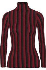Bessie striped ribbed stretch-knit turtleneck sweater